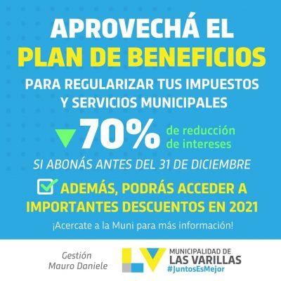 ÚLTIMAS SEMANAS DEL PLAN DE BENEFICIOS PARA REGULARIZAR IMPUESTOS MUNICIPALES Y ACCEDER A DESCUENTOS EN 2021